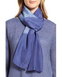Eileen Fisher Blue Silk Shibori Scarf
