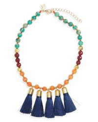 Panacea | Blue Stone Tassel Statement Necklace | Lyst