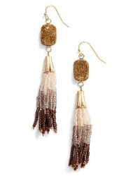 Panacea | Metallic Drusy Tassel Drop Earrings | Lyst