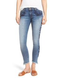 Band Of Gypsies - Blue Lola Embroidered Ankle Jeans - Lyst