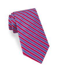 Ted Baker | Red Mogador Stripe Silk & Cotton Tie for Men | Lyst