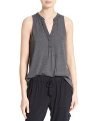Soft Joie | Gray Carley Split Neck Top | Lyst