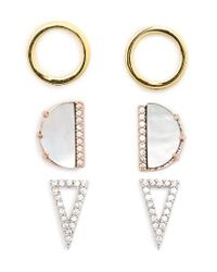 TOPSHOP | Metallic Set Of Three Stud Earrings | Lyst