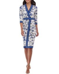 Eci | Blue Floral Faux Wrap Dress | Lyst