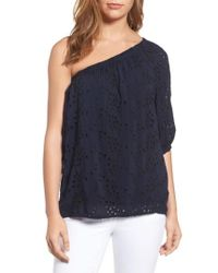 Velvet By Graham & Spencer | Blue One-shoulder Eyelet Blouse | Lyst
