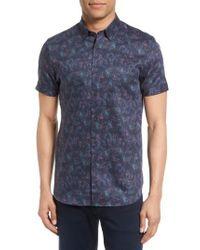 Ted Baker - Blue Saraf Modern Slim Fit Print Sport Shirt for Men - Lyst