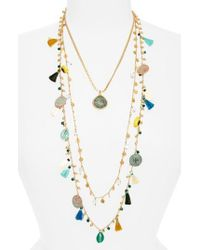 Tory Burch | Multicolor Coin & Tassle Multistrand Necklace | Lyst