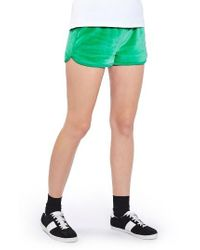TOPSHOP | Green Velour Runner Shorts | Lyst
