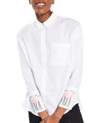 TOPSHOP | White Rosy Flamingo Shirt | Lyst