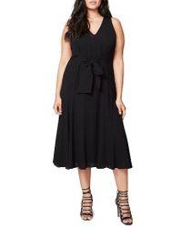Rachel Roy | Black Claudette Tie Front Midi Dress | Lyst