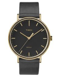 Timex | Black Timex Fairfield Leather Strap Watch for Men | Lyst