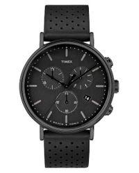 Timex | Black Timex Fairfield Chronograph Leather Strap Watch | Lyst