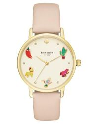 Kate Spade | Metallic Metro Novelty Leather Strap Watch | Lyst