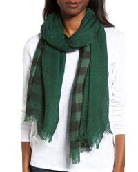 Eileen Fisher | Green Plaid Wool Scarf | Lyst