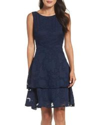 Taylor Dresses | Blue Tiered Lace Dress | Lyst