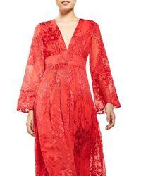 TOPSHOP | Red Floral Burnout Midi Dress | Lyst