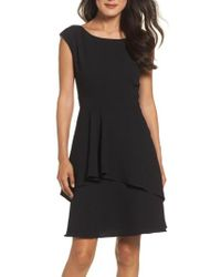 Eliza J | Black Ruffle Fit & Flare Dress | Lyst