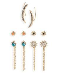 TOPSHOP | Metallic Five-pack Earrings | Lyst