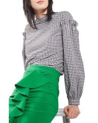 TOPSHOP | Green Gingham Mutton Sleeve Top | Lyst