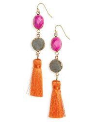 Panacea   Pink Drusy Tassel Earrings   Lyst