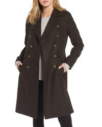French Connection | Green Long Wool Blend Military Coat | Lyst