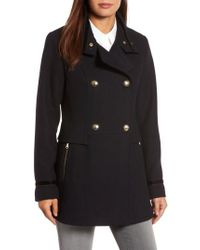 Vince Camuto | Blue Wool Blend Military Coat | Lyst