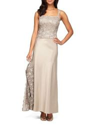 Alex Evenings   Metallic Sequin Lace & Satin Gown With Jacket   Lyst