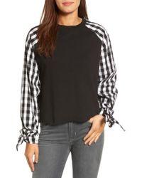 Caslon - Black Caslon Contrast Tie Sleeve Sweatshirt - Lyst