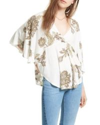 Free People | White Mauie Wowie Palm Print Top | Lyst