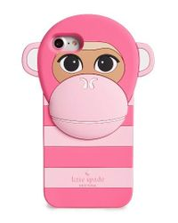 Kate Spade   Pink Monkey Silicone Iphone 7 Case   Lyst
