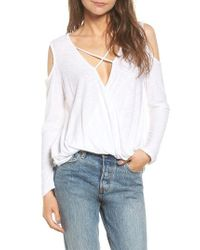 Michelle By Comune | White Anchor Cold Shoulder Surplice Tee | Lyst
