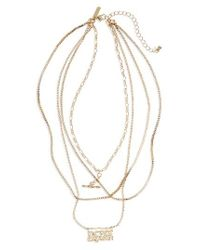 TOPSHOP - Metallic Never Explain Multistrand Necklace - Lyst