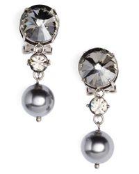 Miu Miu   Gray Queen Jewels Classic Clip-on Earrings   Lyst