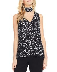 Vince Camuto | Black Animal Whispers Cutout V-neck Blouse | Lyst