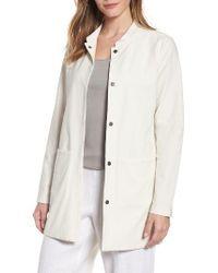 Eileen Fisher - Natural Mandarin Collar Knit Jacket - Lyst