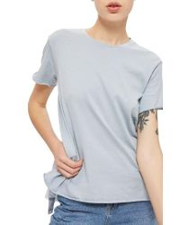 TOPSHOP | Blue Tulle Back Tee | Lyst