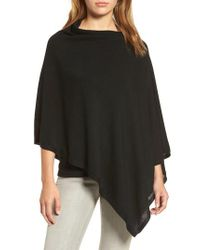 Eileen Fisher - Black Tencel & Wool Poncho - Lyst