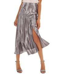 TOPSHOP - Ruched Metallic Midi Skirt - Lyst