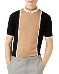 TOPMAN | Multicolor Zip Neck Short Sleeve Sweater for Men | Lyst