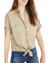 Madewell | Natural Embroidered Tie Front Safari Shirt | Lyst