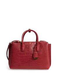 MCM | Red Medium Milla Croc Embossed Leather Tote | Lyst
