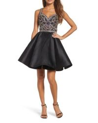 Mac Duggal | Black Bejeweled Fit & Flare Dress | Lyst