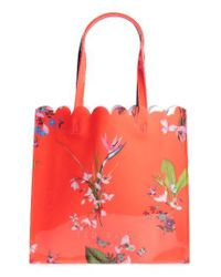 Ted Baker - Red Large Icon - Tropical Oasis Tote - Lyst