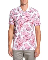 Ted Baker | Pink Course Floral Print Modern Slim Fit Polo for Men | Lyst