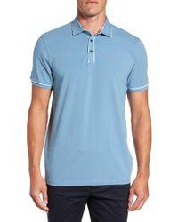 Ted Baker | Blue Offset Modern Slim Fit Polo for Men | Lyst