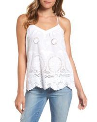 b41175331996e Lyst - Dex Strappy Eyelet Lace Tank in White