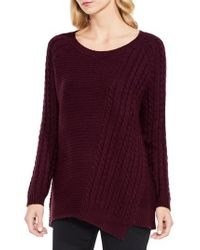 Two By Vince Camuto | Purple Mixed Stitch Sweater | Lyst