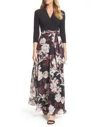 Chetta B | Black Mix Media Faux Wrap Maxi Dress | Lyst