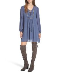 LOST AND WANDER | Blue Lost + Wander Julia Lace-up Swing Dress | Lyst