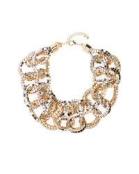 Natasha Couture - Metallic Box Chain Bib Necklace - Lyst